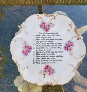 DECORATIVE WALL HANGING PLATE THE 10 COMMANDMENTS